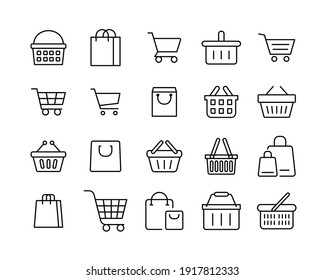 Set of shopping cart line icons. Simple outline style for web template and app. Online store, shop basket, bag concept. Vector illustration isolated on white background. EPS 10