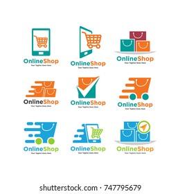 set of Shopping cart logo and shopping bags logo vector set graphic design. Vector Logo Illustration Design Template