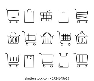Set of shopping carts flat icon. Pictogram for web. Line stroke. Baskets isolated on white background. Vector eps10
