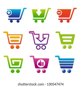 Set of shopping carts. Set of icons for webshop.