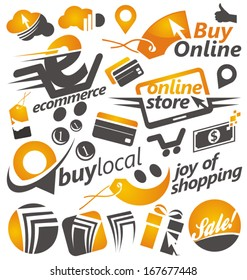 Set of shopping icons, signs, badges, labels logos and symbols.