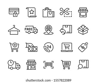 Set of shopping icons. Сollection of web icons for online store, such as discounts, delivery, contacts, payment, app store, location, shopping cart. Editable vector stroke 96x96 pixel