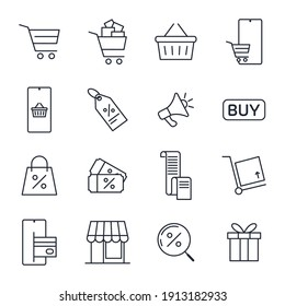 Set of Shopping and Market icon. Store pack symbol template for graphic and web design collection logo vector illustration