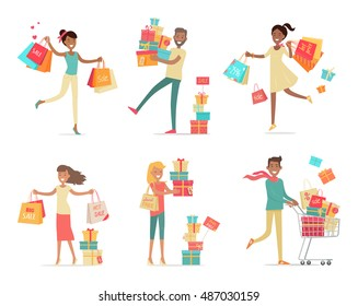 Set of shopping people vector concepts. Flat design. Collection of smiling women and man characters with gift boxes, paper bags and trolley with goods. Pleasure of purchase. For sales and discounts