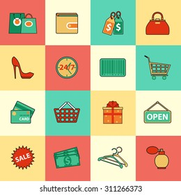 Set of shopping and sale line icons. Vector illustration