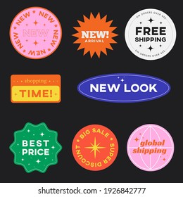 Set of Shopping Stickers Retro Design. Cute Sale label badges. Trendy Free Shipping, New Look, Big Sale, Best Price Banners Pack. Vector Illustration. - Shutterstock ID 1926842777
