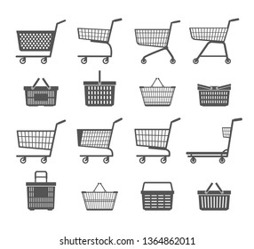 Set of shopping trolleys and shopping baskets. Isolated on white background. Black and white. Vector illustration.