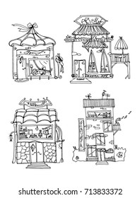 Set of shops. Collection of vector small shops. Set of stylized boutiques. Linear art. Black and white drawing by hand. Cartoon houses. Doodle art.