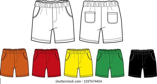 set of short pants, baby boy clothes template  flat skech design