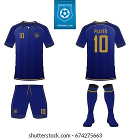 Set of short sleeve soccer jersey or football kit template for football club. Football shirt mock up. Front and back view soccer uniform. Flat football logo on blue label. Vector Illustration.