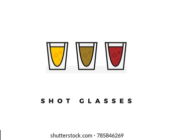 Set of Shot Glasses isolated on white background. eps 10
