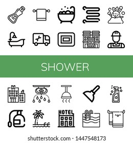 Set of shower icons such as Soap, Bathtub, Towel hanger, Plumber, Jacuzzi, Towel rail, Hotel, Shower, Spray, Sprinkler, Pool, Plunger, Swimming pool, Beach towel , shower