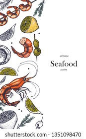 Set of shrimps with lemon and olives. Hand drawn illustrations.Seafood concept on white background. Hand drawn boil prawn or shrimp. Background template for design. Can be use for menu, packaging.