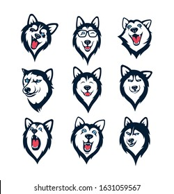 Set of siberian husky stickers. Dog in different emotions. Illustrations for prints, logos, websites, and apps.