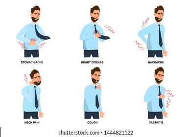 set of sick man stomach ache, heart disease, backache, neck pain, cough and gastritis. vector illustration cartoon character flat style