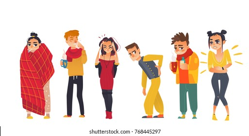 Set of sick people - flu, cold, headache, back pain, stomach ache, fever, flat cartoon vector illustration isolated on white background. Set of people, men and women, suffering from pain, being sick