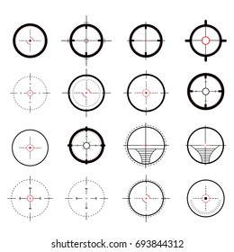 A set of sights, sniper purposes. Icons symbols on a white background. For web design. Vector illustration