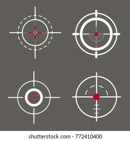 A set of sights, sniper purposes. For web design. Vector illustration