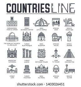 Set of sightseeing attractions of countries all over the world thin line icons isolated on white. Famous architecture outline pictograms collection. Landmarks vector elements for infographic, web.