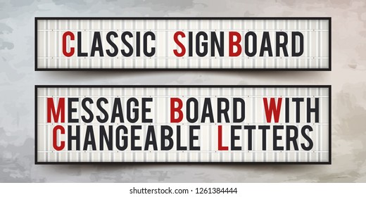 Set of sign boards with changeable letters. Classic banner for your projects or advertising. Light banner, vintage billboard or lightbox. Art mockup for announcements.