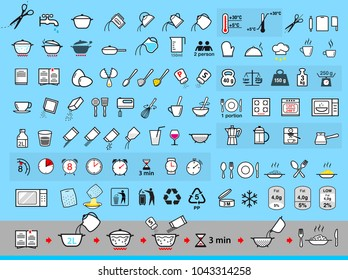 Set of sign for detailed guideline. Cooking and preparation instructions. Vector elements. Ready for your design. EPS10.