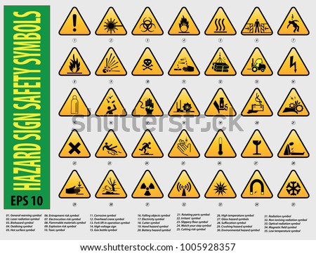 Set Sign Hazard Safety Symbols General Stock Vector Royalty Free