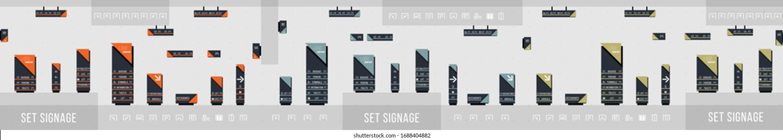 Set of signage vector.Direction,pole, wall mount and traffic signage system design template set.Exterior and interior signage concept. Office exterior monument sign, pylon sign.Vector illustration.