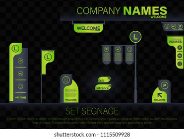 Set signage.Direction,pole, wall mount and traffic signage system design template set.Exterior and interior signage concep.Office exterior monument sign, pylon sign, signage, advertising construction.
