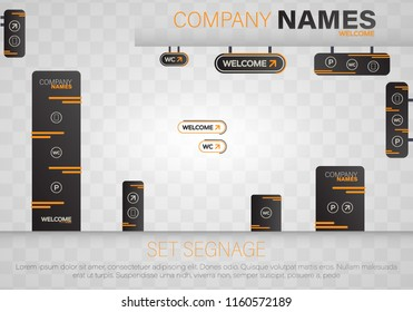 Set signage.Direction,pole, wall mount and traffic signage system design template set.Exterior and interior signage concep. Office exterior monument sign, pylon sign, signage,advertising construction.