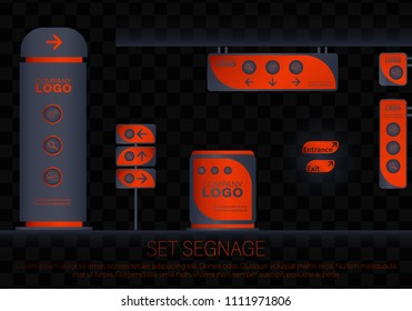 Set signage.Office exterior monument sign, pylon sign, signage, advertising construction.Direction,pole, wall mount and traffic signage system design template set.Exterior and interior signage concep.