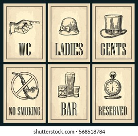 Set signboard. Vector vintage engraved illustration on a beige background. For bar, restaurant, cafe, pub