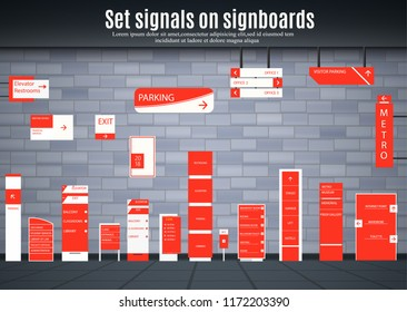 Set of signboards for business. Direction, pole, wall mount and billboard design template. A set of outdoor and indoor signs for advertising. sign pylon, signage, advertising construction.