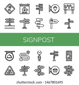 Set of signpost icons such as Slippery road, Signboard, Signpost, Road sign, Pothole, Distance, Guidepost , signpost