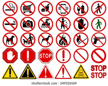 """Set of  Signs for Different Prohibited Activities. """"No"""" signs, No smoking, No drinking, No photographing, No dogs, No walk and other. Vector illustration - you can simply change color and size"""