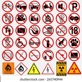 "Set of  Signs for Different Prohibited Activities. ""No"" signs. Vector illustration"
