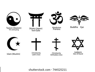 A set of signs of different religions with an explanation. Set of religious symbols isolated on white background.