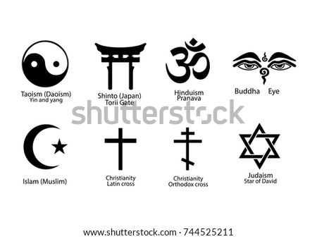 Set Signs Different Religions Explanation Set Stock Vector Royalty