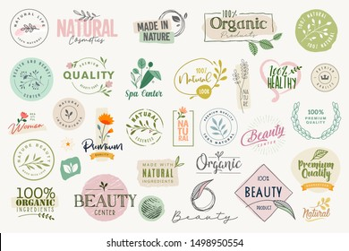 Set of signs and elements for beauty, natural and organic products, cosmetics, spa and wellness. Vector illustrations for graphic and web design, marketing material, product promotions.