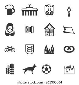 Set of signs of Germany. Set include beer, eagle, Brandenburg gate, berlin TV tower, woman, accordion, harmonica, German house, German hat, bicycle, football, castle, German Shepherd, Pretzel.