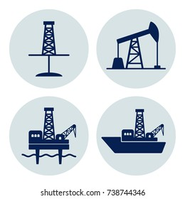 Set of signs for oil and gas industry: onshore and offshore drilling. Dark blue flat vector icons on grey background.