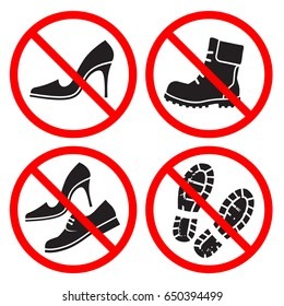 Set of signs prohibiting walking in dirty street shoes.