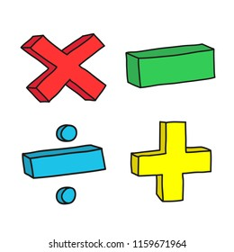 Set of signs for school multiplication, subtraction, division, addition. Figure  doodle by hand in yellow, red, green and blue.
