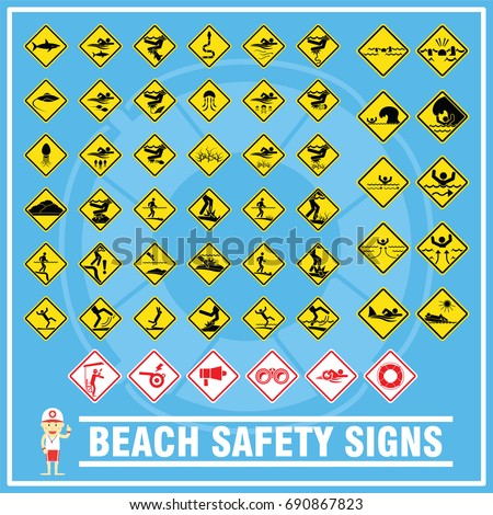 Set Signs Symbols Beach Safety Warning Stock Vector Royalty Free