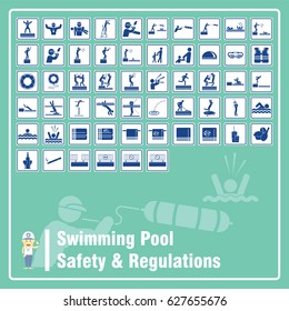 Set of Signs and Symbols of Swimming Pool Safety Rules and Regulations