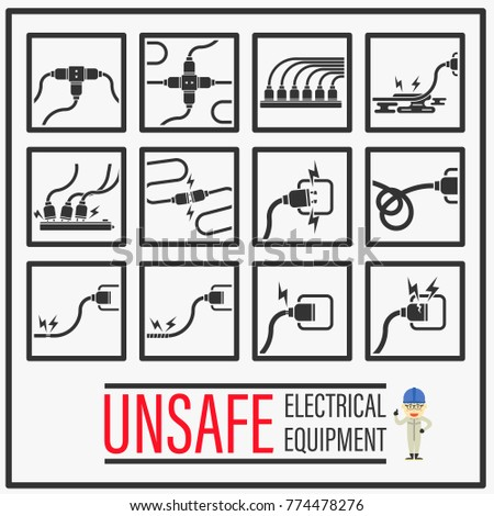 Set Signs Symbols Unsafe Electrical Equipments Stock Vector Royalty