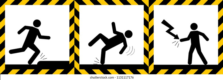 Set signs warning,Electric hazard,wet floor,tripping danger sign,illustration vector eps10.
