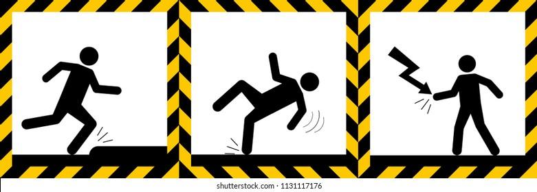 Set signs warning,Electric hazard,wet floor,tripping danger sign,illustration vector eps10.