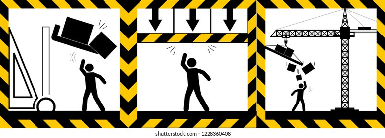 Set signs warning,objects mind your head sign,illustration vector eps10.