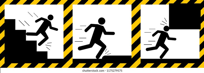 Set signs warning,run down the stairs,tripping,mind your head sign,illustration vector eps10.