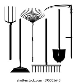 Set of Silhouette Agricultural Tools Isolated on White Background, Garden Equipment , Pitchfork and Hoe, Rake and Shovel with Scythe, Vector Illustration